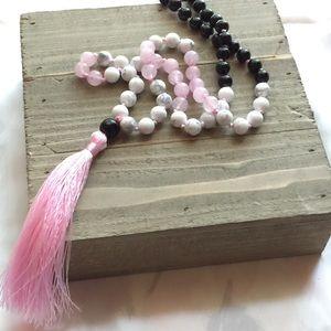 Jewelry - Rose Quartz, Black Onyx and White Howlite Necklace